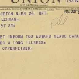 Telegram : 1954 June 24