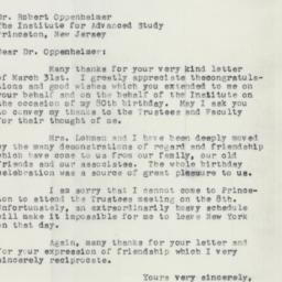 Letter: 1958 April 3