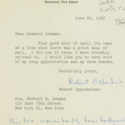 Letter : 1963 June 20