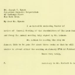 Letter : 1926 January 22