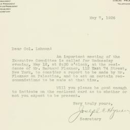 Letter : 1926 May 7