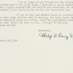 Letter : 1951 March 15