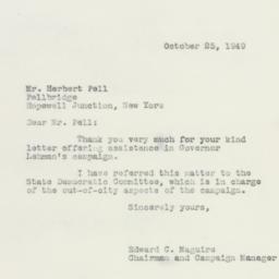 Letter : 1949 October 25