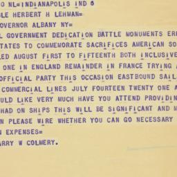 Telegram : 1937 July 9
