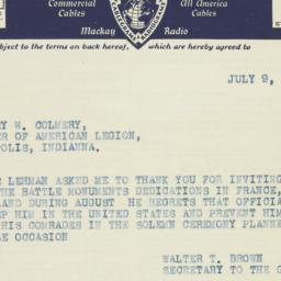 Telegram : 1937 July 9