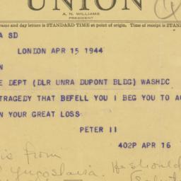 Telegram : 1944 April 15