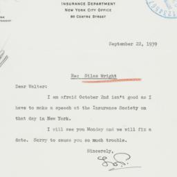 Letter : 1939 September 22