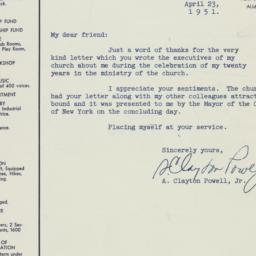 Letter: 1951 April 23