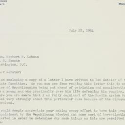 Letter: 1954 July 22