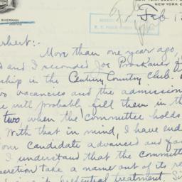 Letter : 1929 February 13