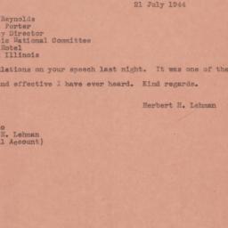 Telegram: 1944 July 21
