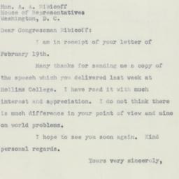 Letter : 1951 February 27