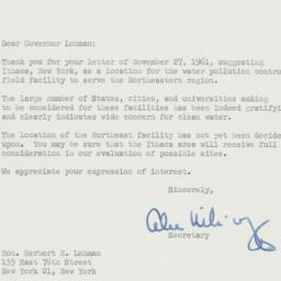 Letter : 1961 December 18