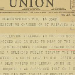 Telegram : 1937 July 14