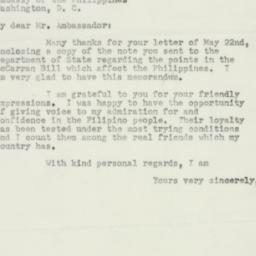 Letter : 1952 May 27