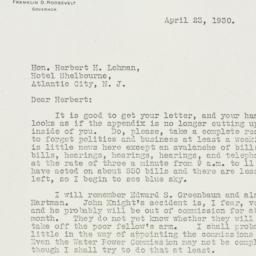 Letter: 1930 April 23