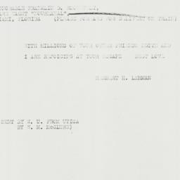 Telegram: 1933 February 16