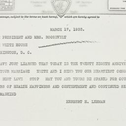 Telegram: 1933 March 17
