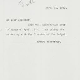 Letter: 1933 April 21