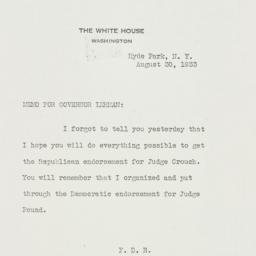 Memorandum: 1933 August 30