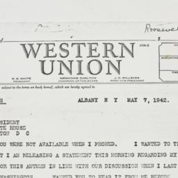 Telegram: 1942 May 7
