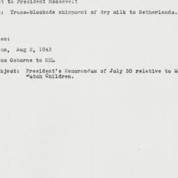 Memorandum: 1943 August 6
