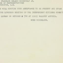 Telegram : 1949 September 27