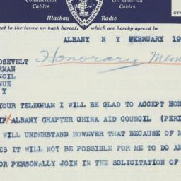 Telegram : 1941 February 19