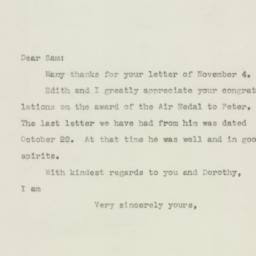 Letter : 1943 November 8