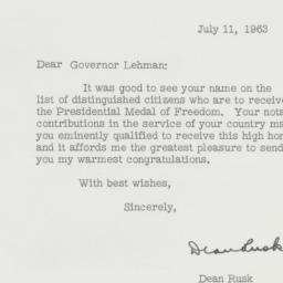 Letter : 1963 July 11