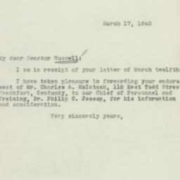 Letter : 1943 March 19