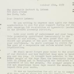 Letter : 1959 October 16