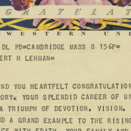 Telegram : 1950 November 8