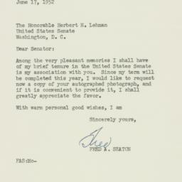 Letter : 1952 June 17