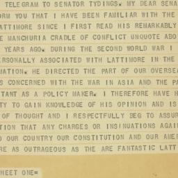 Telegram : 1950 March 27