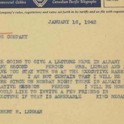 Telegram : 1942 January 16