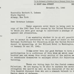 Letter : 1940 November 29