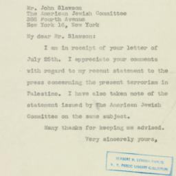 Letter : 1946 July 29