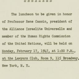 Memorandum : 1947 February 13