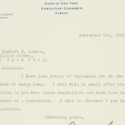Letter: 1925 September 2