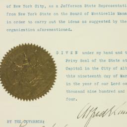 Certificate : 1925 March 19