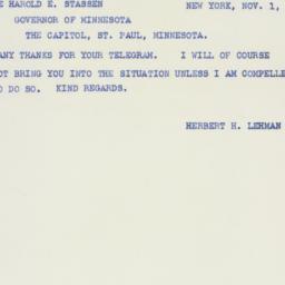 Telegram : 1941 November 1