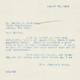 Letter : 1934 August 30
