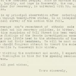Letter : 1933 December 6