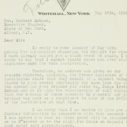 Letter : 1932 May 17