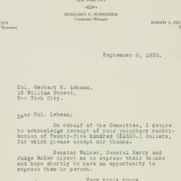 Letter: 1925 September 8