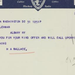 Telegram : 1935 October 31