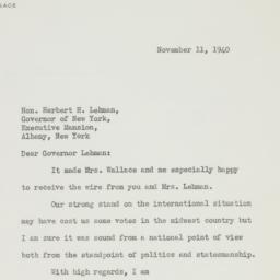 Letter : 1940 November 11