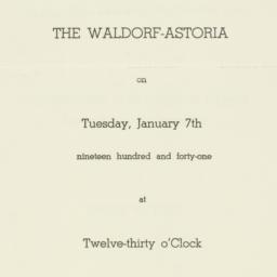 Invitation: 1941 January 7