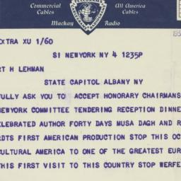 Telegram : 1933 November 4